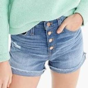 J. Crew High-rise Denim Short Exposed Button Fly